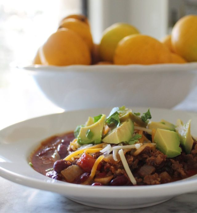 Bowl of chili with steam
