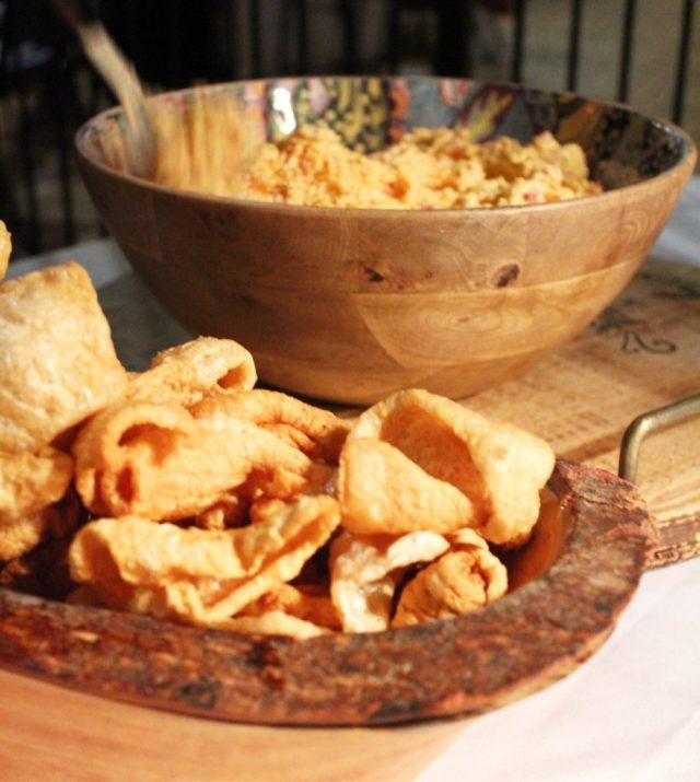 Fried pork rinds with pimento cheese
