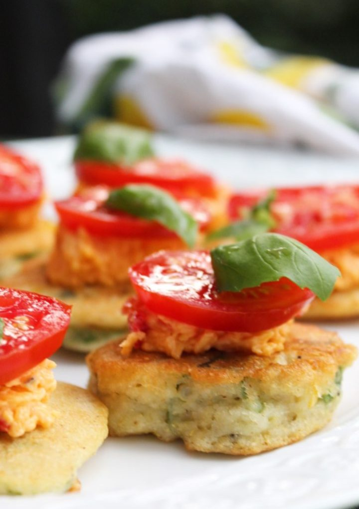 Okra Tomato and Corn Hoecakes with Pimento Cheese