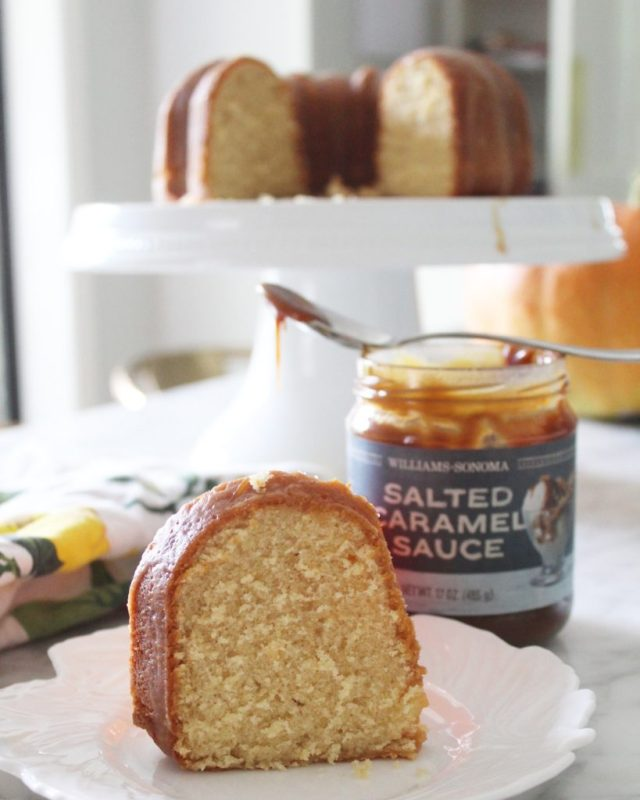 cake with jar of caramel sauce in background