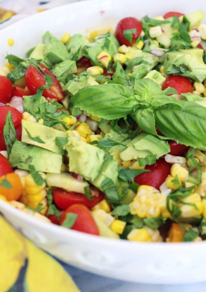 Tomato Salad with Corn and Avocado