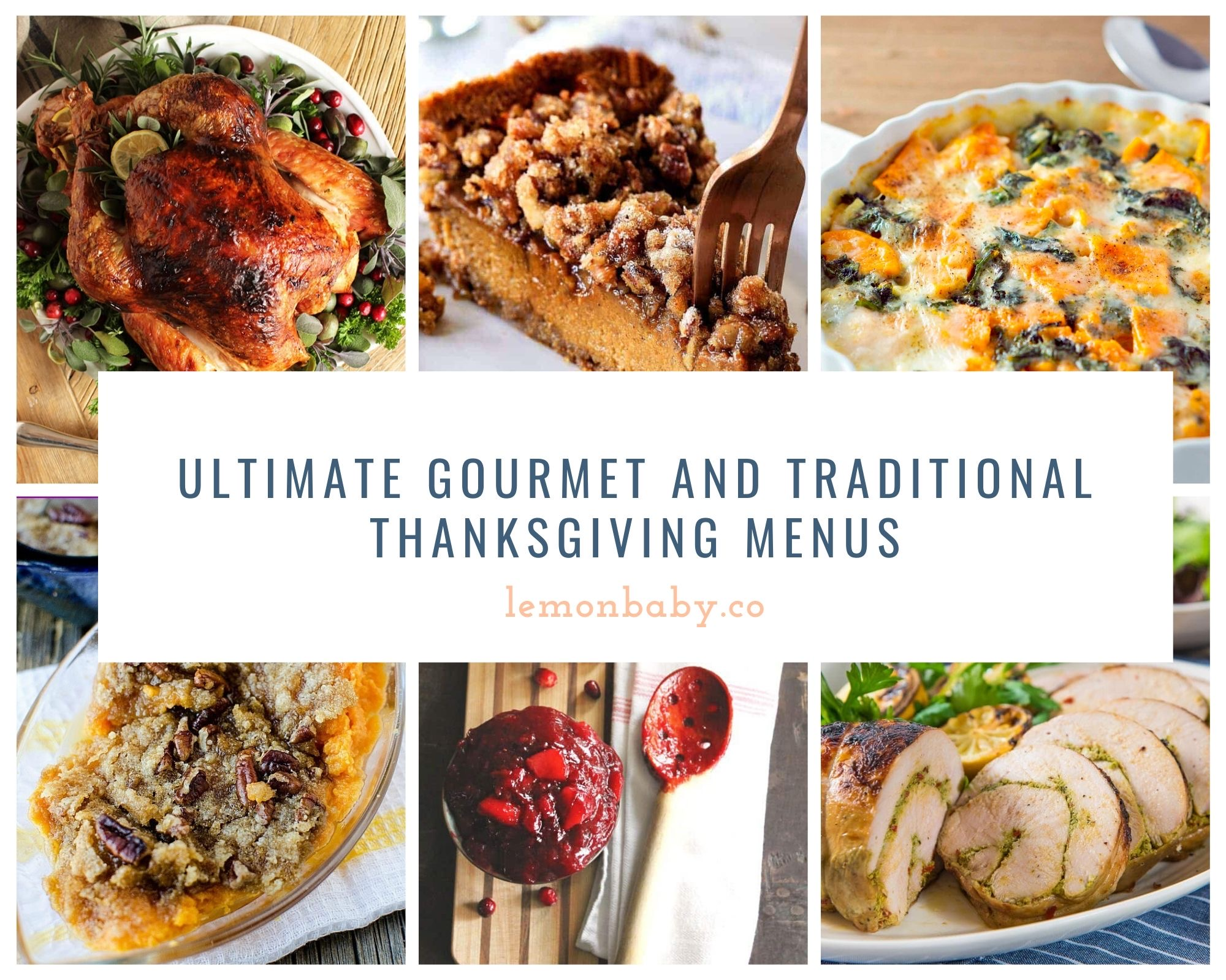 thanksgiving menu dishes in a collage