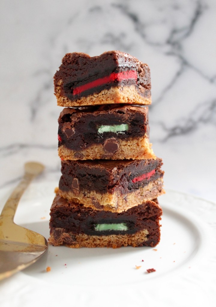Christmas Brownies with Cookie Dough and Oreos