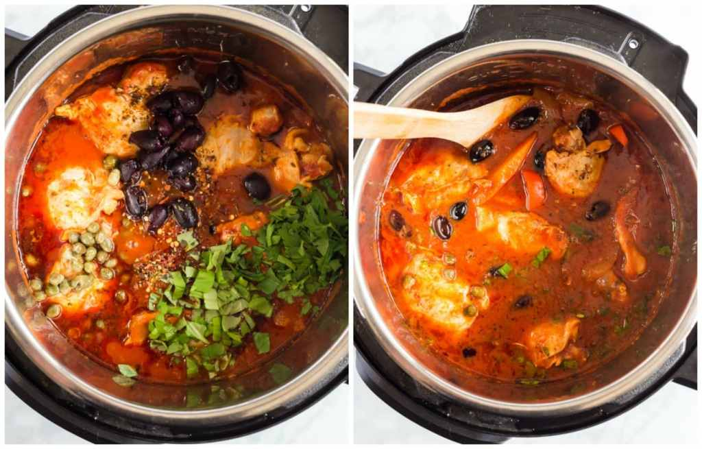 Step by step photos for making Chicken stew Italian style. Adding the olives, capers and fresh herbs. Photo of completed dtew.