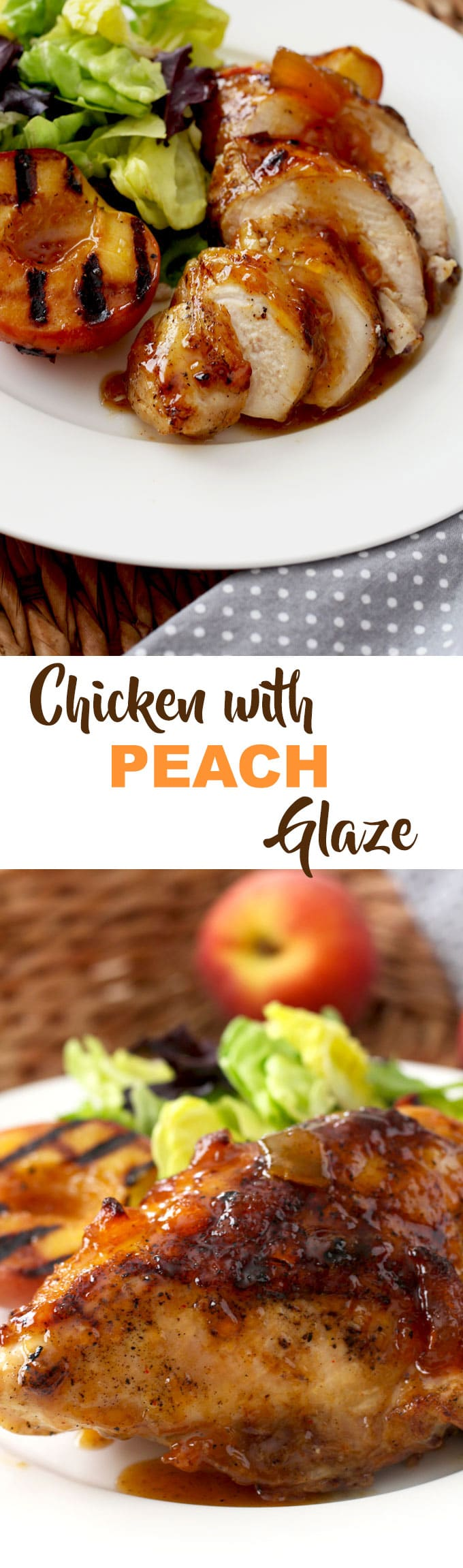 This Sticky Chicken with Peach Glaze and Grilled Peaches is sweet and spicy, so easy to make and beyond finger licking good!This Sticky Chicken recipe is the perfect summer dish to serve at your next gathering, backyard BBQ or potluck. #grilledchicken #peachglaze #grilling #peaches