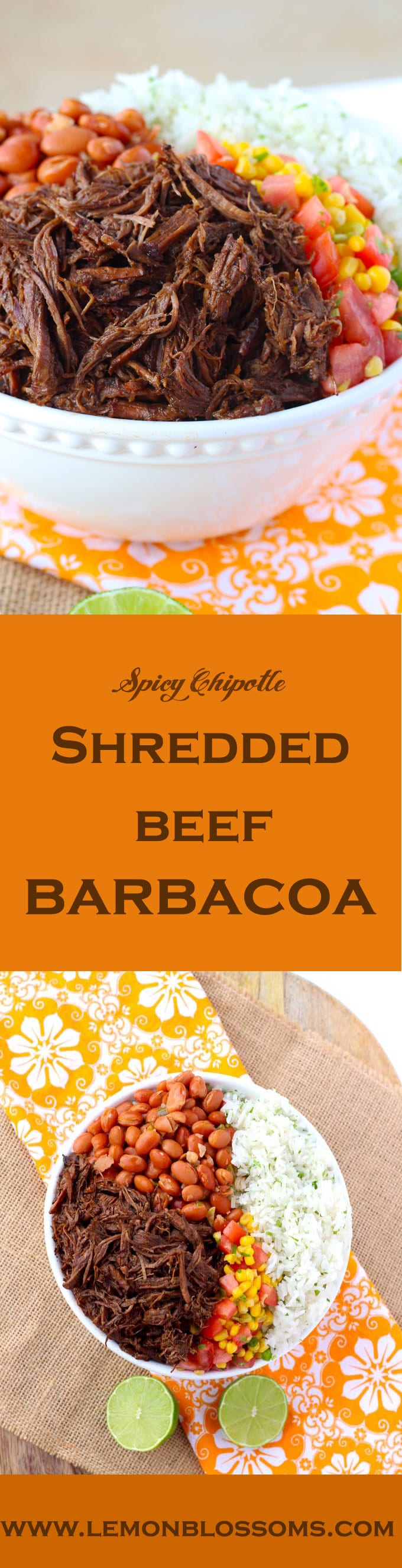 Slow braised until tender, spicy chipotle shredded beef barbacoa is delicious and perfect for burritos, burrito bowls and Tex-Mex salads