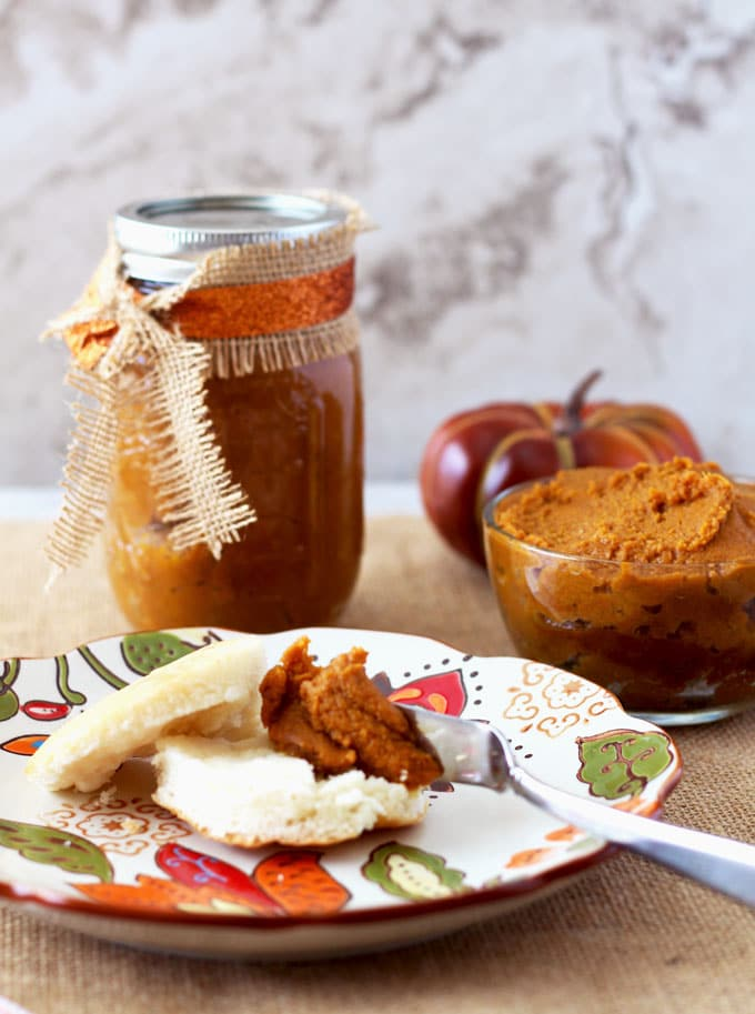 Simple, decadent, thick and delicious this Dulce de Leche & Pumpkin Butter with Bourbon made in the crock pot is all the fall flavors in one delicious bite