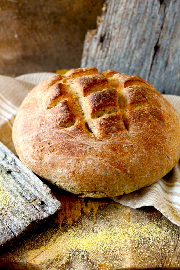 the German farmer-style bread is a full flavored, crusty and delicious hearty rye bread. Serve it a bit warm, just plain or with some butter and cheese, oh my! Perfect and homemade!
