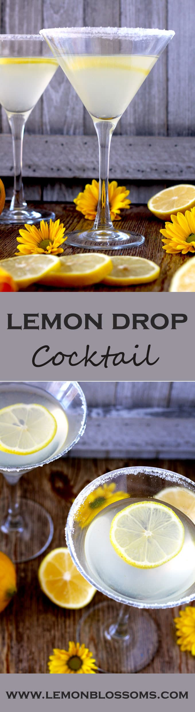 Lemony, sweet, sour and super easy to make. This Lemon Drop Cocktail is the perfect drink to enjoy any day! #cocktails #martini #lemondrop #vodka #lemonmartini #easy