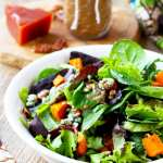 Roasted Sweet Potatoes and Greens Salad with Quince Vinaigrette