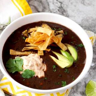 This hearty Black Bean Soup with Chipotle Crema is simple, delicious and easy to make. The chipotle crema adds a wonderful and complex smoky flavor to the soup.