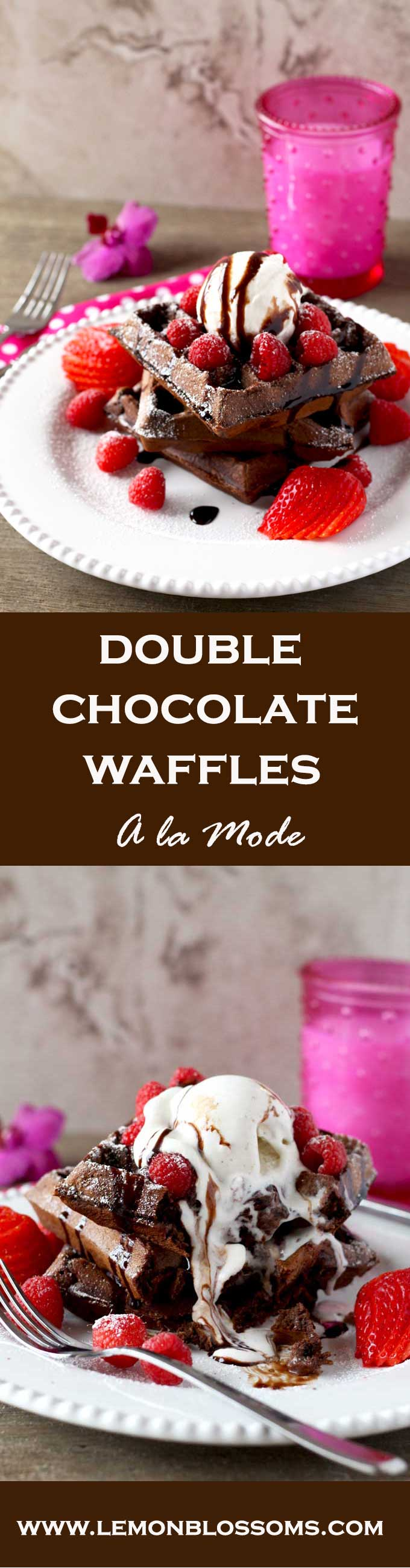 Very easy to make, not too sweet and full of chocolate decadence! These Double Chocolate Waffles a la Mode are the perfect breakfast for any occasion