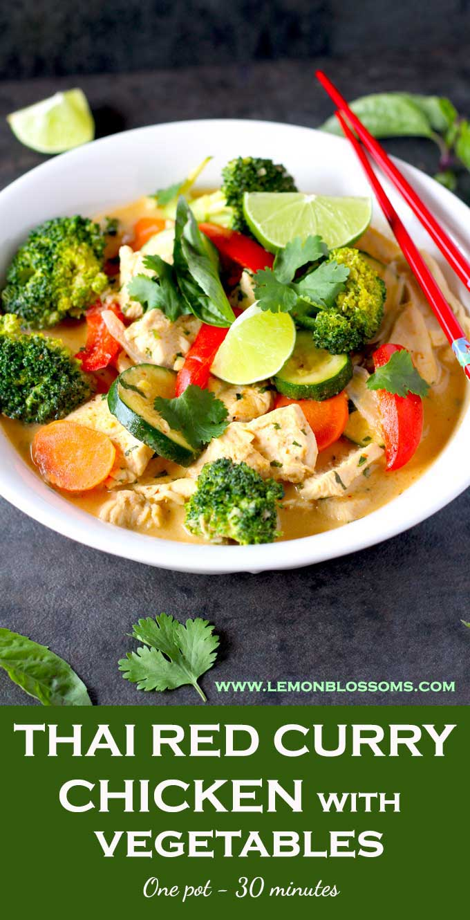 This Thai Red Curry Chicken with Vegetables is easy to make and so flavorful! Thinly sliced chicken and vegetables are simmered in a rich sauce made with creamy coconut milk and red curry paste. All in one pot! #recipe #coconut #Thai #chickencurry #healthy #easy