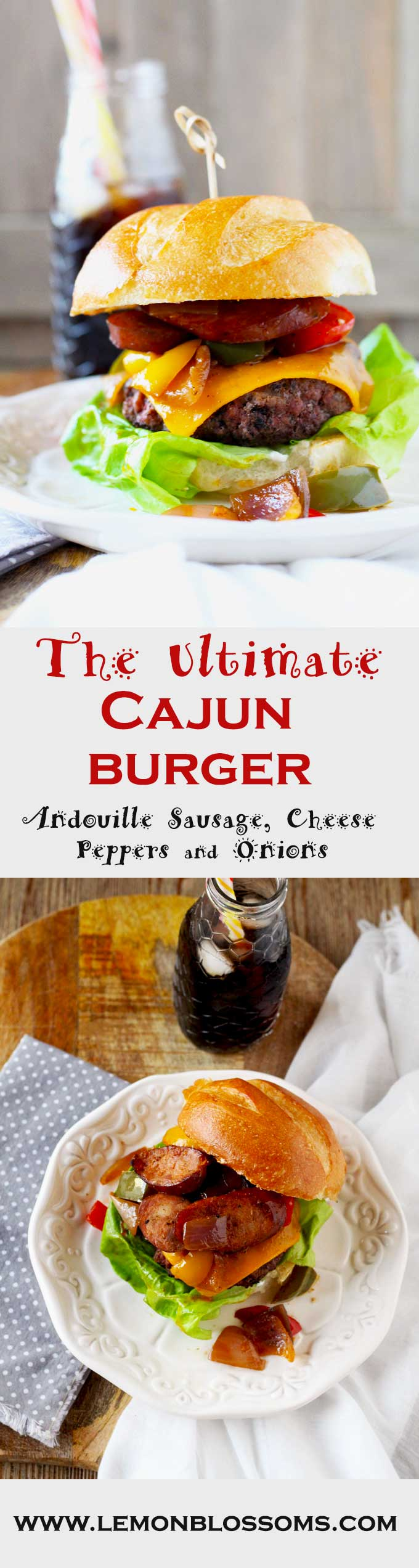 The Ultimate Cajun Burger is packed full of Cajun-Creole goodness! A moist Cajun spiced beef patty is topped with gooey cheddar cheese, sautéed onions, bell peppers and Andouille sausage. A true explosion of flavors!
