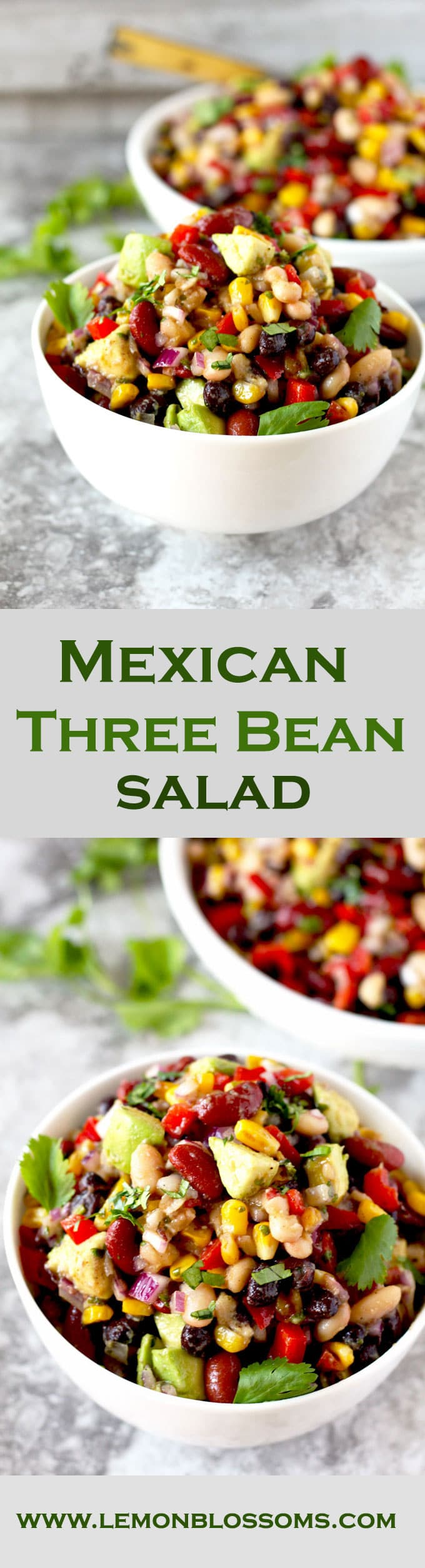 This protein-rich Mexican Three Bean Salad is loaded with southwestern flavors. Quick, easy and the perfect make-ahead dish to serve when you have company, at parties or potlucks.