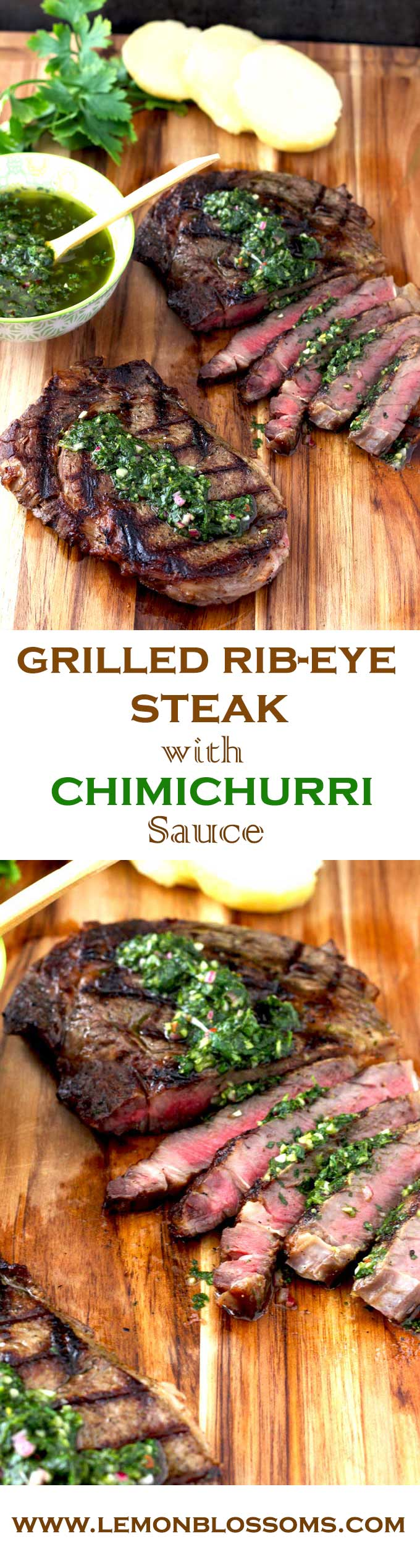 Grilled Rib-Eye Steaks with Chimichurri Sauce | Lemon Blossoms