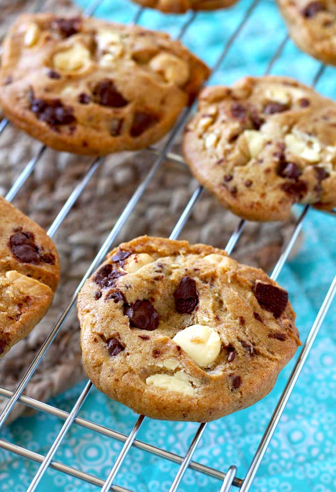 Soft in the middle with chewy edges and loaded with semi-sweet chocolate chunks and white chocolate chips these White and Dark Chocolate Chunk Cookies are perfect any time of the year!