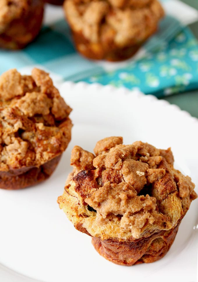 Full of cinnamon flavor, these Baked Cinnamon French Toast Muffins are easy to toss together and bake in under 30 minutes! They are the perfect grab and go breakfast and also amazing served at brunch and big gatherings!