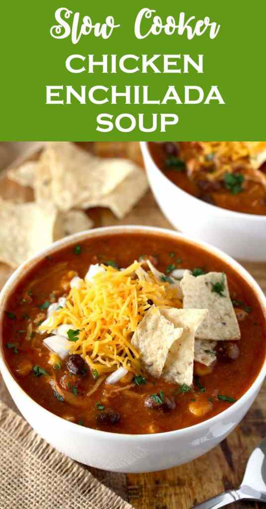 This Slow Cooker Chicken Enchilada Soup is bursting with flavor! Cheesy, creamy and full of shredded chicken, black beans and corn. With only 10 minutes of prep time this soup is pure comfort in a bowl!
