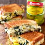 Spinach and Artichoke Dip Cheese Melts ~ with Peperoncini