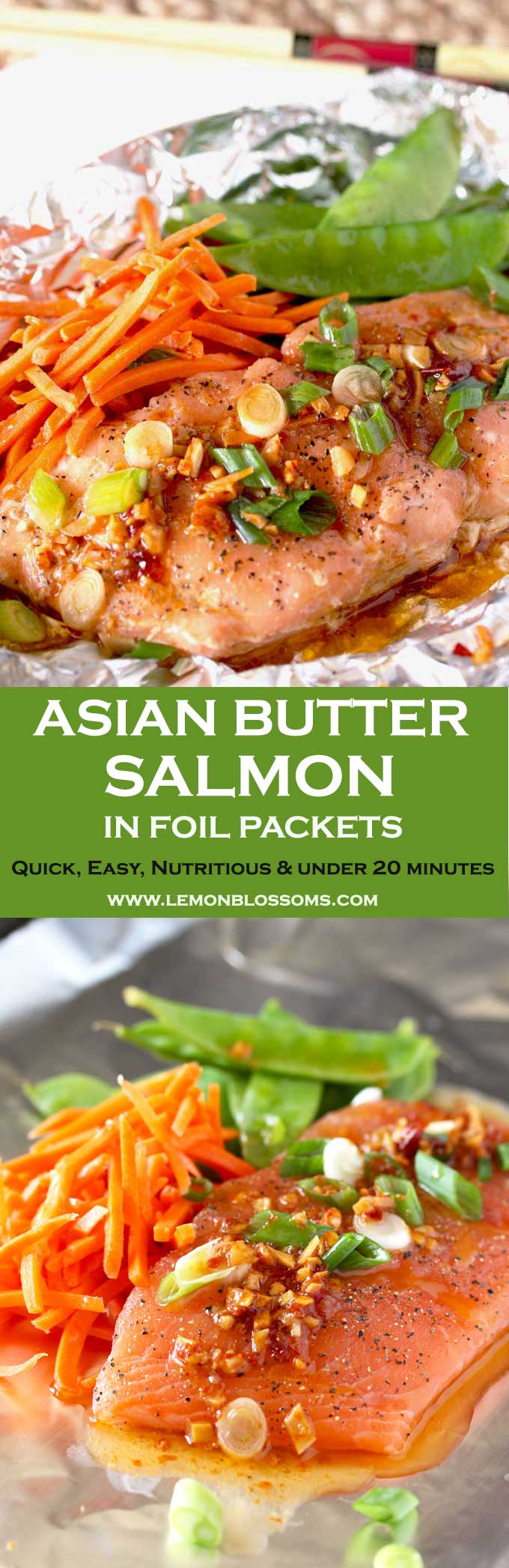 This Asian Butter Salmon is packed with Asian flavors! Light, easy, nutritious and ready in under 20 minutes! Simple ingredients and little clean up!
