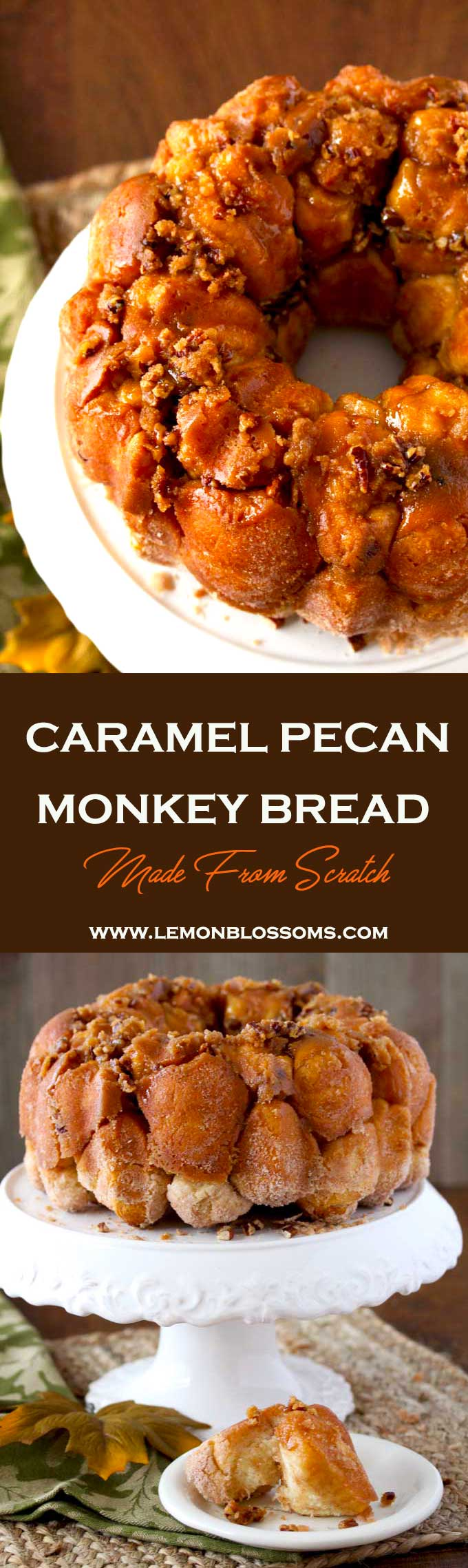 This homemade Caramel Pecan Monkey Bread is chewy, sweet, sticky and made from scratch! Cinnamon sugar dough balls baked in gooey caramel-pecan resulting in a delectable treat!