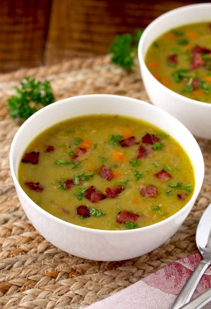 Pressure Cooker Split Pea Soup with Ham | Lemon Blossoms