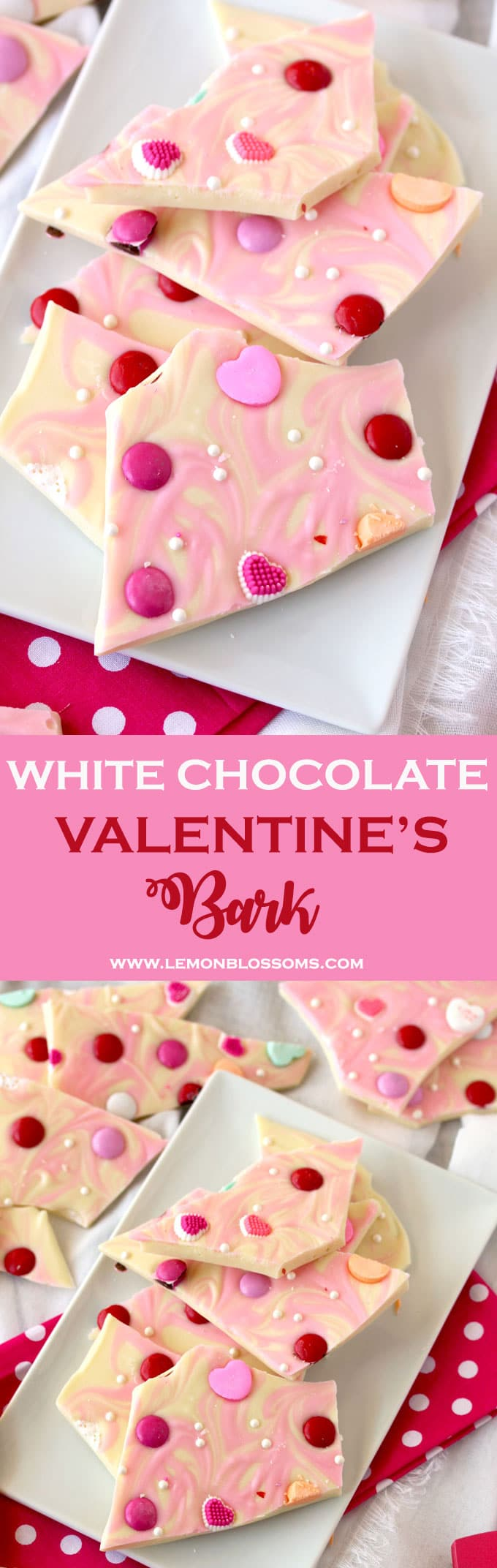 This Valentine's Bark is sweet, delicious and incredibly addicting. This no bake, stress-free and fun dessert is made with white chocolate, marbled with pink vanilla candy melts and decorated with assorted Valentine's theme candies. This is definitely the easiest homemade gift you can make! #Valentinesday #Bark #chocolate #gifts #homemade #whitechocolate