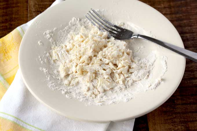 all-purposed flour and butter mashed together on a plate