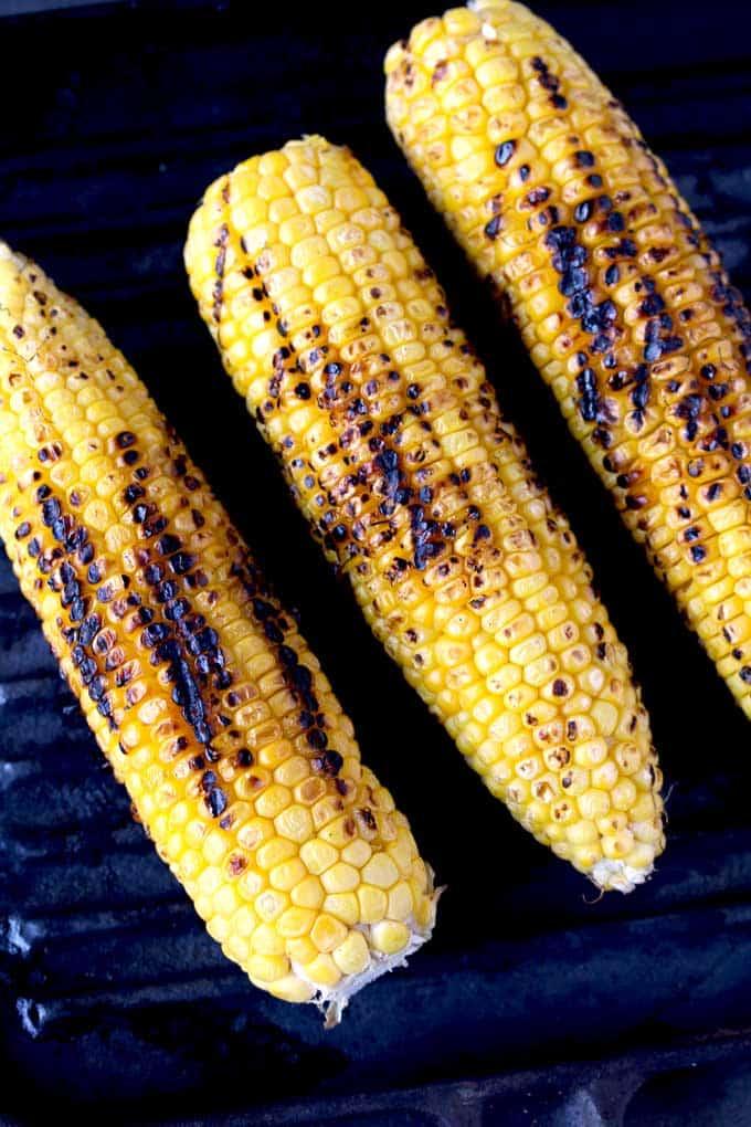 Corn ears on a grill