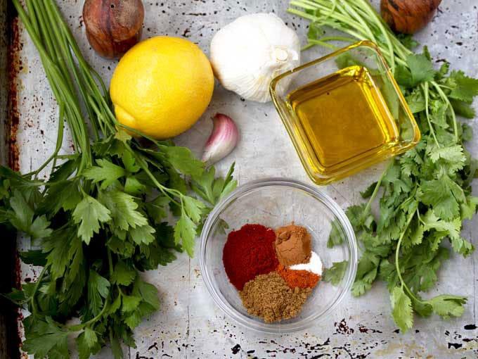 Ingredients to make chermoula sauce