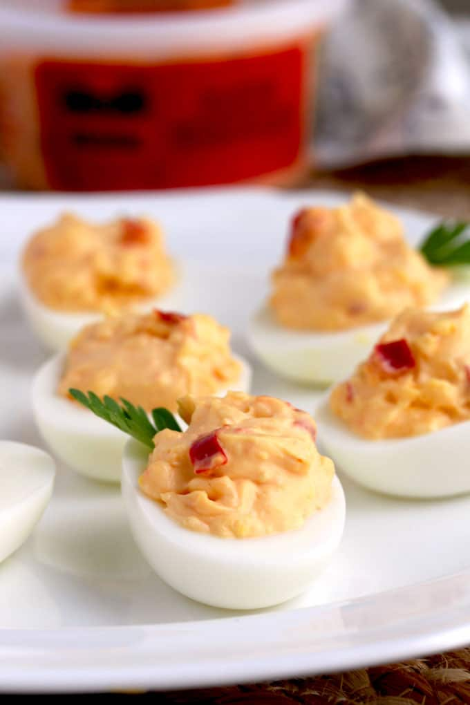 Close up of Pimento Cheese Deviled Eggs on a platter