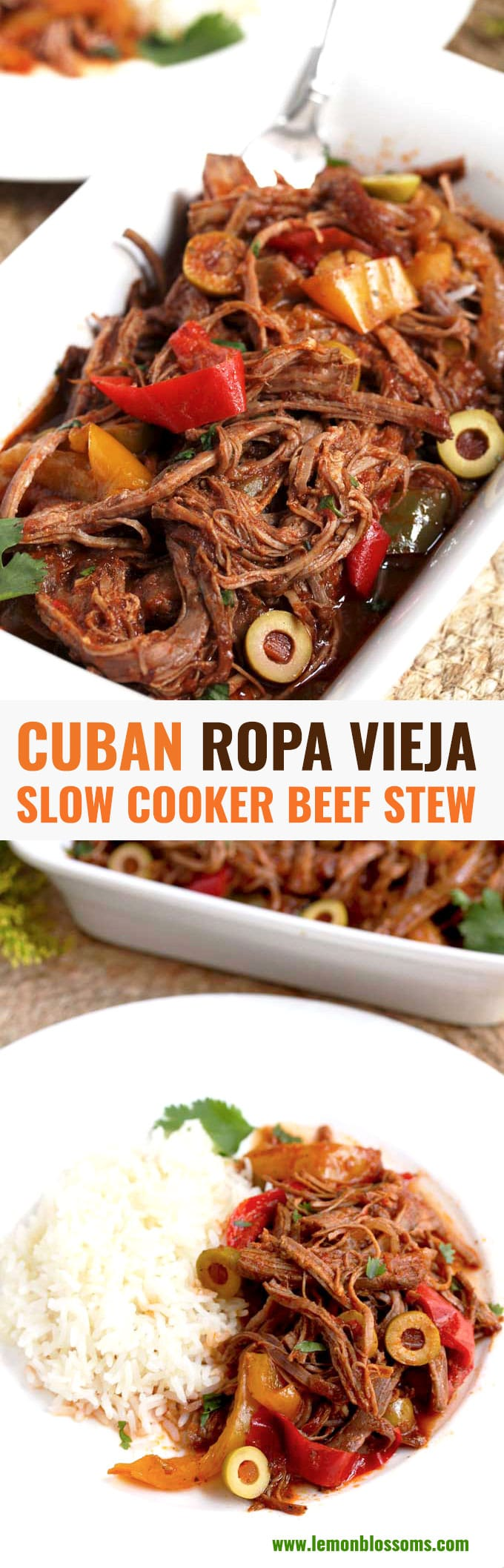 Cuban Ropa Vieja features tender shredded beef simmered in the most flavorful sauce of tomatoes, bell peppers and spices. This hearty Ropa Vieja beef stew recipe is made easily in the slow cooker.