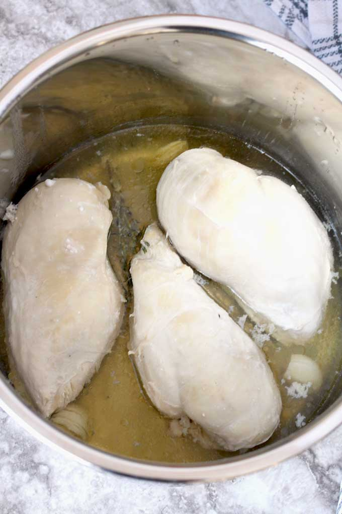 Cooked chicken breasts inside the instant pot