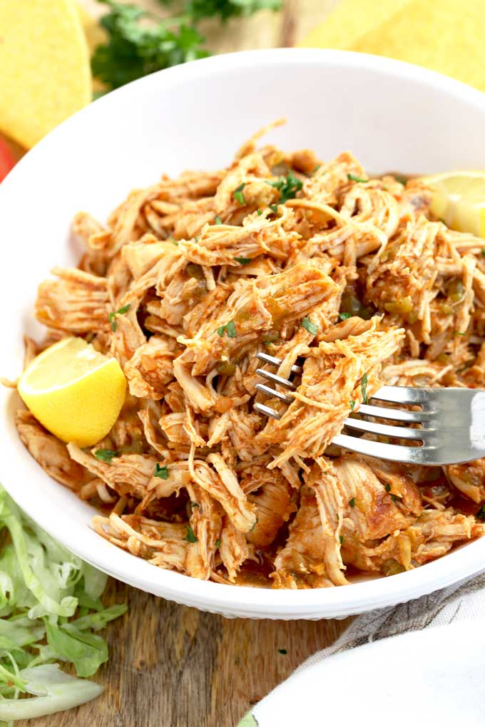 Instant Pot Shredded Chicken served in a white bowl.