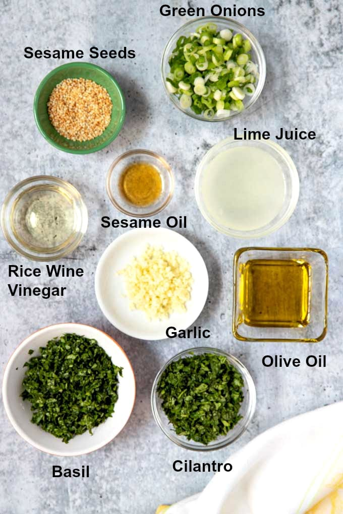 Bowls filled with ingredients to make Asian chimichurri.