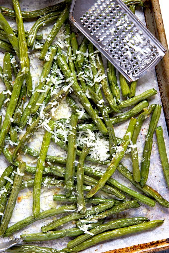 Oven roasted green beans on a sheet pan