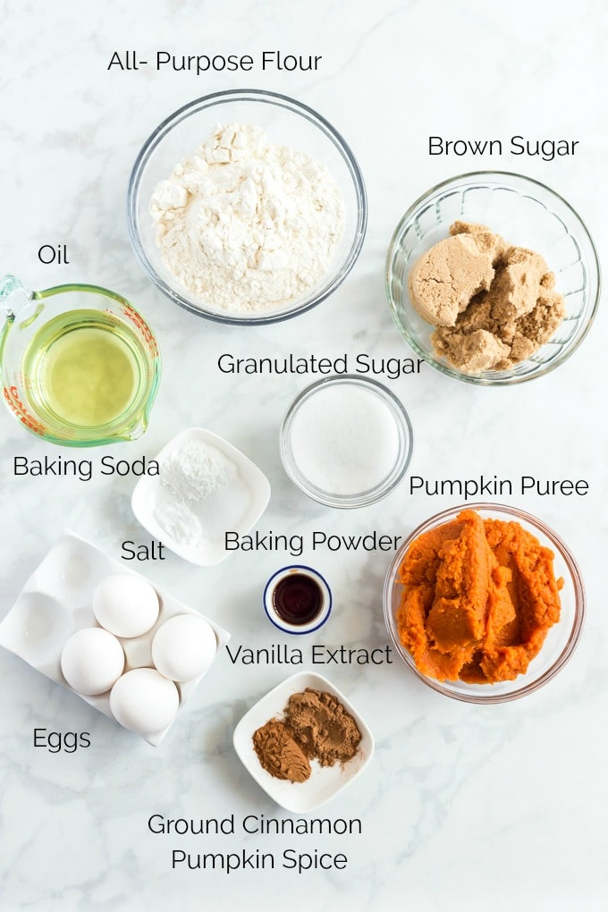 Pumpkin Cake Ingredients on a white surface