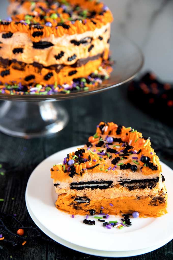 Slice of Halloween Icebox cake on a white plate
