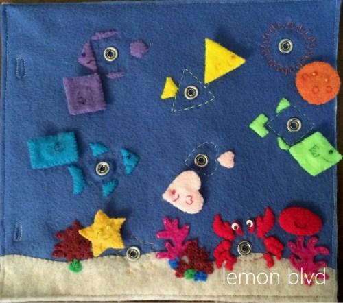Fish Quiet Book Page - shapes and colors - lemon blvd