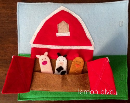 Quiet Book Page - barn doors open to reveal farm animals - lemon blvd