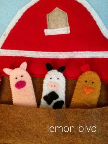 Quiet Book Page - farm animal finger puppets - lemon blvd