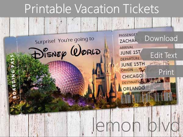 photo relating to Disney World Printable Tickets called Marvel Family vacation Tickets Disney lemon blvd