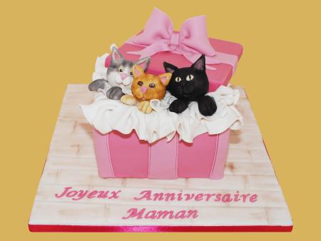 Gâteau d'anniversaire chats