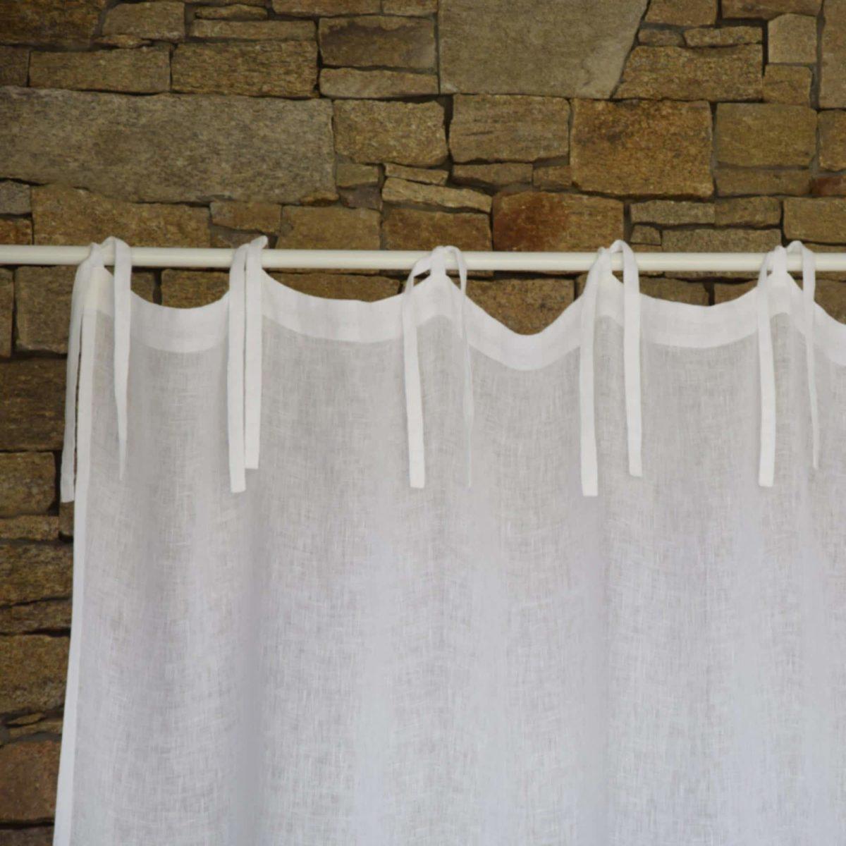 rideau voilage modele gaze de lin lave fine blanc