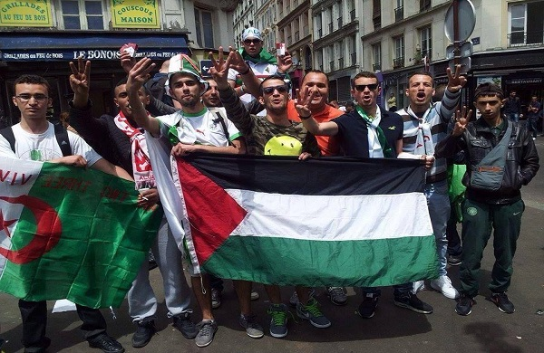 "Three-finger- saluting French supporters of Algerian football team promoting Hamas kidnapping or just traditional ""un deux trois viva l'Algérie"" salute ?(Jul. 2014)"