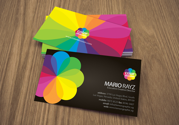 Color Blossom Corporate Business Card – Lemon Graphic