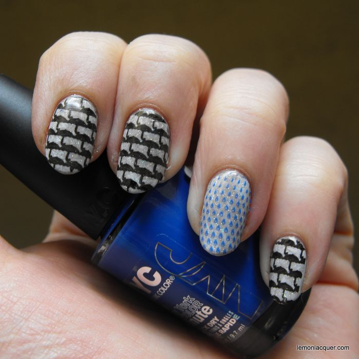 umbrella pattern nail stamping with rain drop accent nail