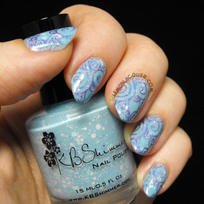 Purple swirl stamping over KBShimmer Snow Way