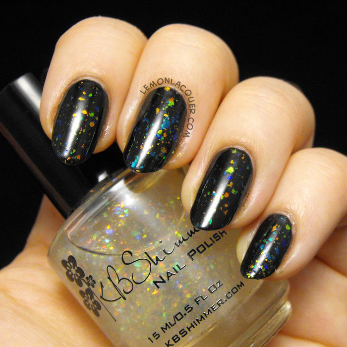 1 coat KBshimmer -Rainbow Shield over 2 coats NYC Black Elixir